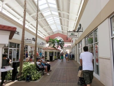 Rows of stores at The International Premium Outlet